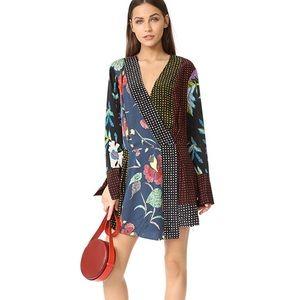 DVF Long Sleeve Crossover Silk Dress